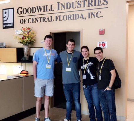 Goodwill Volunteers posing in the offices of Goodwill Industries of Central Florida, INC
