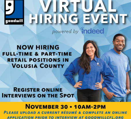 Volusia County Goodwill Virtual Hiring Event Nov. 30