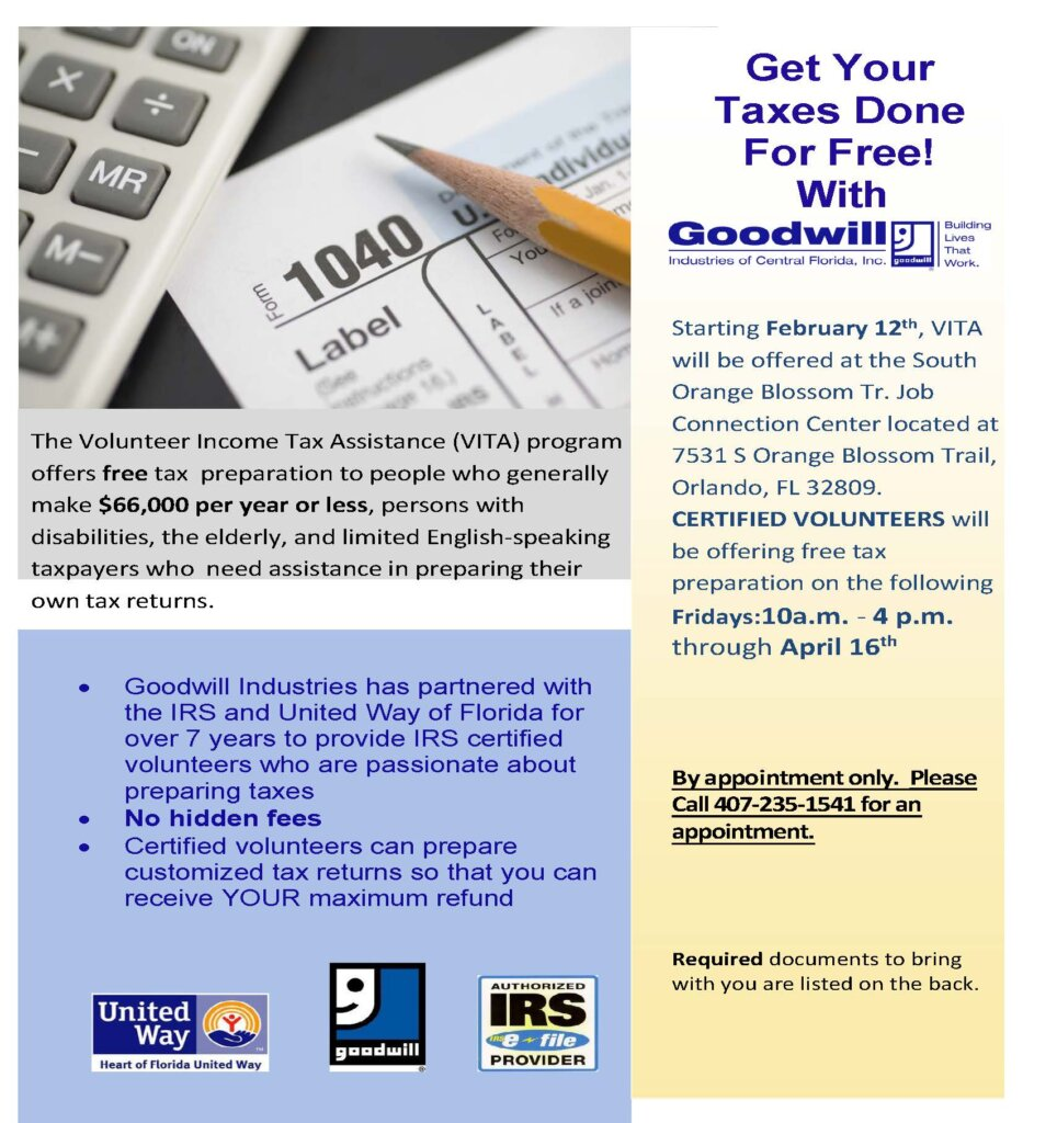 Get Your Taxes Done For Free flyer 2021